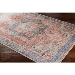 Terracotta & Pale Blue Rug