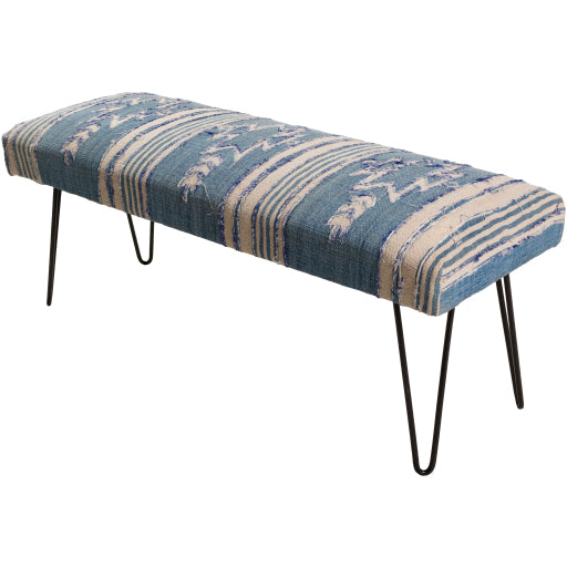Dark Blue & Cream Upholstered Bench