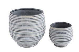 Grey + White Stoneware Planter