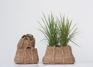 Natural Woven Seagrass Baskets w/ Handles