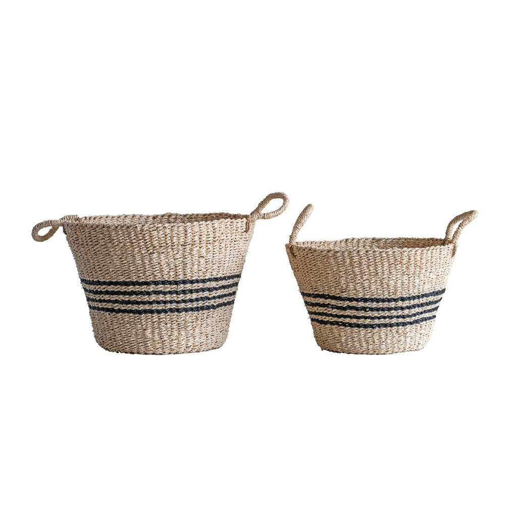 Natural + Striped Seagrass Basket