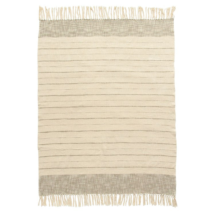 Cream + Tan Fringe Throw