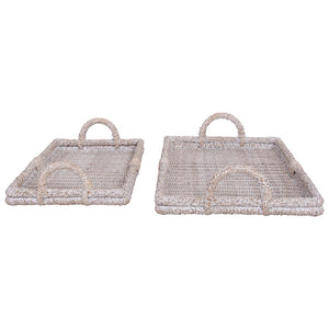 Whitewashed Decorative Rattan Trays w/ Handles