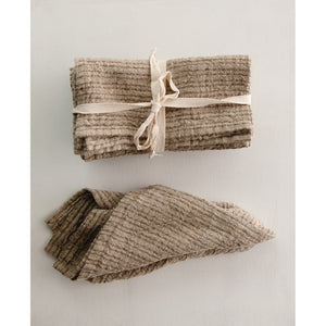 Brown Square Woven Striped Linen Napkin