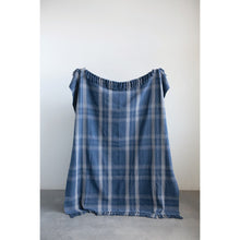 Load image into Gallery viewer, Blue Plaid Cotton Throw