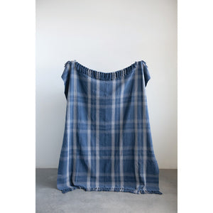 Blue Plaid Cotton Throw