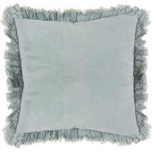 "Load image into Gallery viewer, 20"" Down Filled Ruffled Pillow // Grey-Blue"
