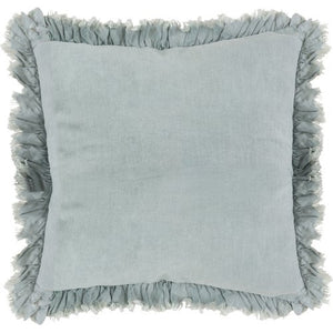 "20"" Down Filled Ruffled Pillow // Grey-Blue"