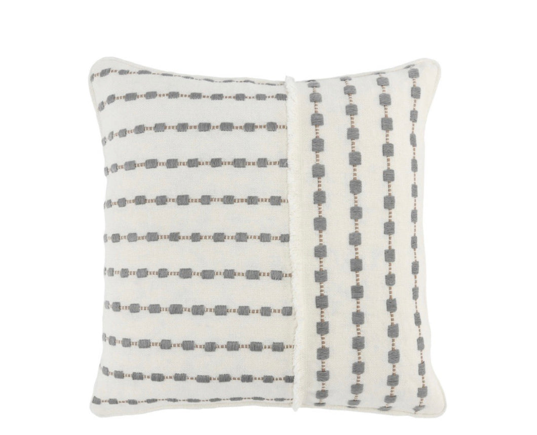 "Embroidered Linen Ivory/Grey Down Pillow- 20""x20"""