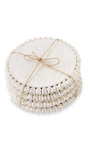 White Beaded Wood Coaster