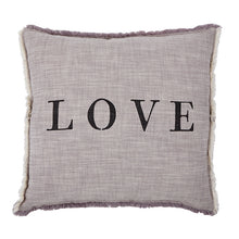 "Load image into Gallery viewer, ""Love"" Down Grey Pillow"