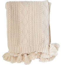 Load image into Gallery viewer, Cream Cotton Knit Tassel Throw