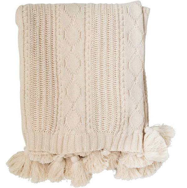 Cream Cotton Knit Tassel Throw
