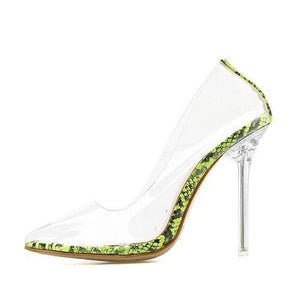pencil high heels sandal green