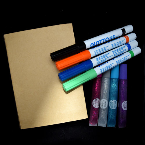 Cardboard keepsake box with four Giotto pens and four glitter glues in assorted colours