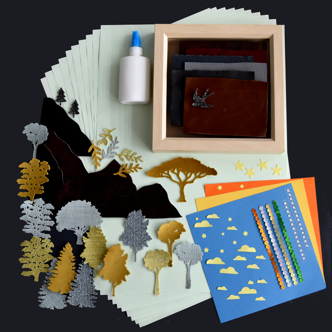 Craft set with deep set wooden frame, fabric trees and leaves, gems and sticky back holographic dots