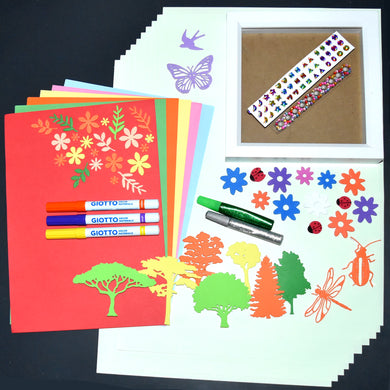 Craft kit including deep set white wooden frame, sticky back foam trees, flowers and mini beasts, stick on gems, Giotto pens, glitter glue tubes and both A3 & A4 coloured paper