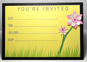 Personalised Party Invitation with two handmade 3d flowers