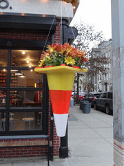 Flower hanging pot from traffic cone