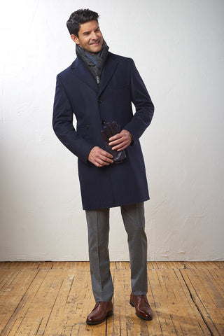 Thigh-Length Wool Coat with Removable Bib Solid Navy