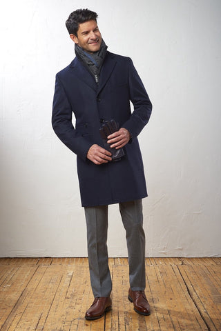 Thigh-Length Wool Coat with Removable Bib Navy Tone-on-Tone Check