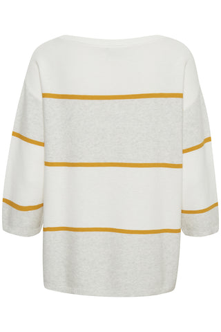 Maris Cotton Pullover Chalk with Gold Stripe