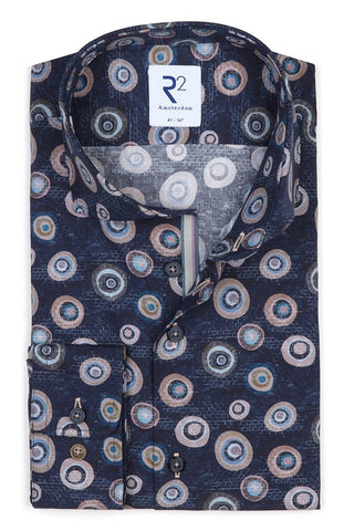 Long-Sleeved Sport Shirt Multicolour Graphical Print on Navy