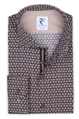 Long-Sleeved Sport Shirt Floral Print on Navy
