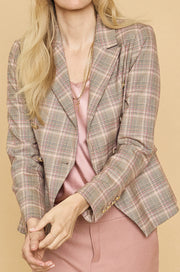 Beliz Fara Double-Breasted Blazer Plaid