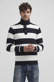 Anders Windproof, Mock-Turtleneck Cotton Sweater Striped