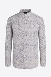 Long-Sleeved, Leaf-Print Cotton Casual Shirt Vanilla