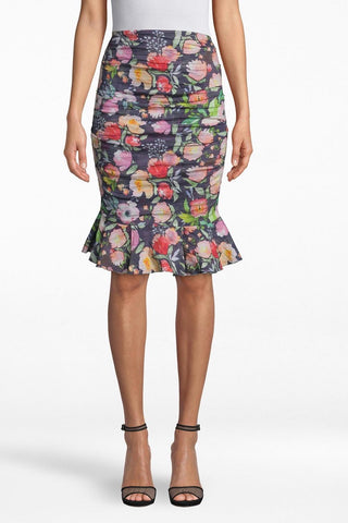 Watercolour Floral Cotton-Metal Ruffled Skirt