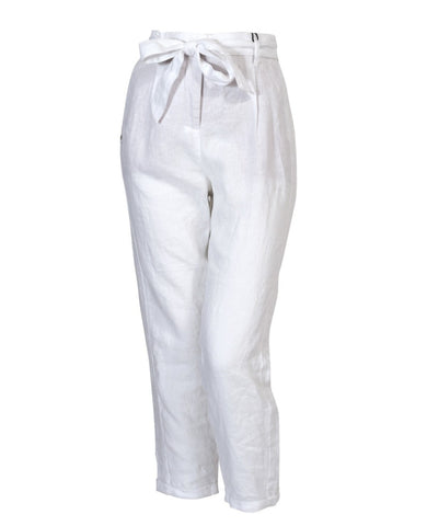 Linen Pant with Belt in White