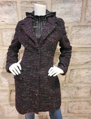 Hooded Wool-Blend Tweed Coat Merlot