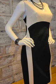 Two-Tone Sleeveless Sheath Dress Black & Bone