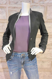 One-Button Blazer with Leather Trim Charcoal