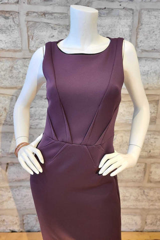 Sleeveless, Boat-Neck Dress Plum