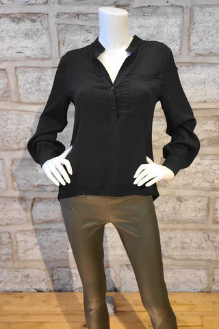 Long-Sleeved V-Neck Tunic Blouse Black