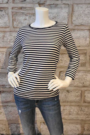 Long-Sleeved Crew-Neck T-Shirt Navy Stripe