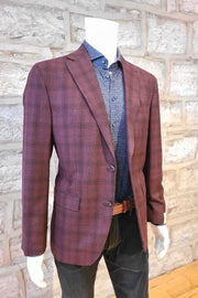 Sport Coat  with Double-Check Burgundy