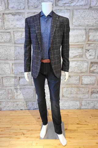 Check Sport Coat Heathered Black with Cream Check
