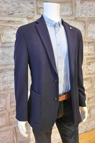 Technical-Fabric Sport Coat with Removable Bib Navy