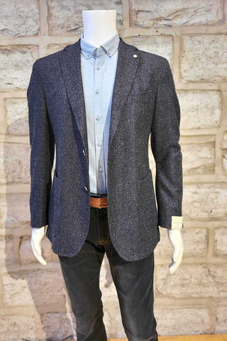 Wool-Blend Sport Coat with Removable Bib Blue Tweed