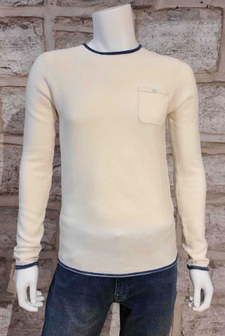 Crew-Neck Piqué Sweater Off-White