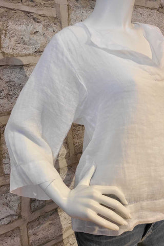 Long-Sleeved Linen Top White