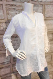Long-Sleeved Cotton Top White