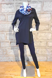 Matte-Jersey Tunic with Side Slits Navy