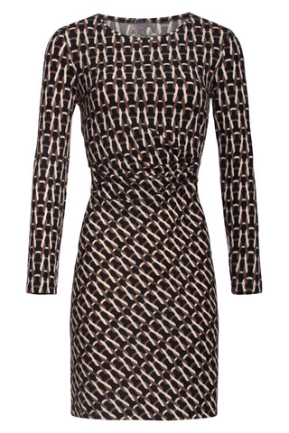 Black Side-Ruched, Round-Neck Dress with Chain Pattern