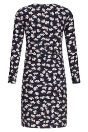 Crew Neck Dress with White Floral Print Navy