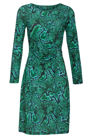 Paisley Boatneck Dress Green